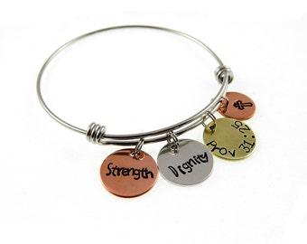 Wedding Day Gift Jewelry : jewelry proverbs 31 25 scripture jewelry hand stamped jewelry ...