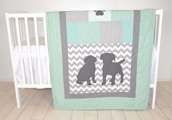 Baby Boy Bedding, Puppy Quilt, Dog Nursery Blanket, Chevron Kids Quilt,  Mint Green Gray Bedding, Labrador Chevron Blanket, Custom Made