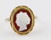 Antique 9ct Gold Oval Hand Carved Cameo Ladies Ring   Size UK P 1/2 and US 8  UK Tests as Gold