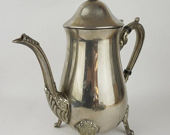 Silver Plated 1970s Ornate Etched Coffee Pot