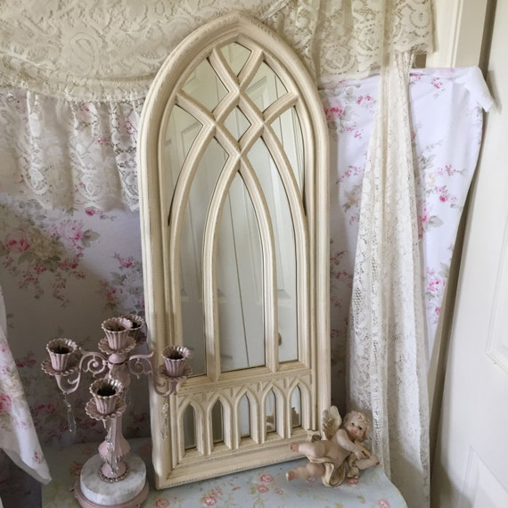 Large Vintage Cathedral Mirror Home Interiors Shabby Chic