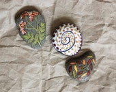 Hand Painted Stones: Set of 3 Autumn Stones--Mother's Day Gift--Home Decor--Office Decor--OOAK