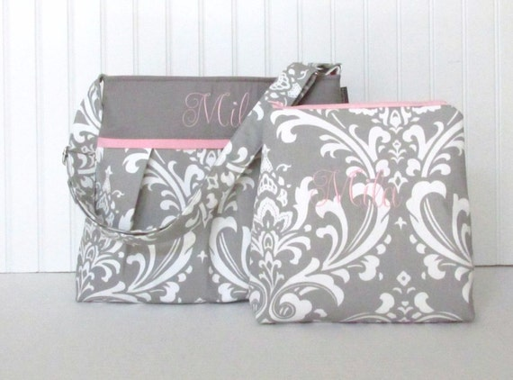 personalized gray damask diaper bag set with zippered pouch. Black Bedroom Furniture Sets. Home Design Ideas