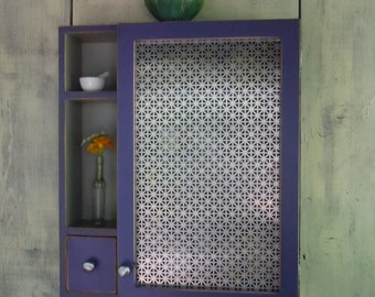 Kitchen Storage Cabinet-Rustic Wall Cabinet w/ Ornate Sheet Metal Door and Drawer  - Handmade Rustic Furniture - MADE to ORDER