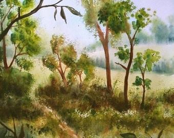 "Original Watercolor Landscape Painting ""Through the branches"" Nature Art Aquarelle"