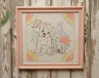 Vintage Puppy and Kitten Needlepoint Framed