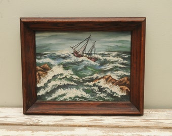 Mid Century Sailboat Painting Storm Signed