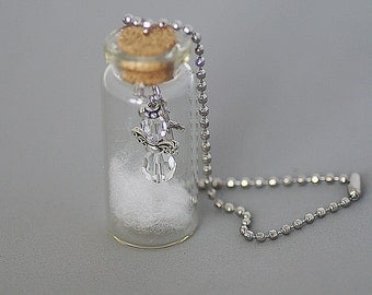 Bottle charm rear view mirror or window charm love vial car , angel road with crystals