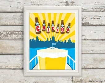 Chicago, Lake Shore Drive, Lake Michigan, Chicago Skyline, Beer Print, Brewery, Skyline, City Print, CHI, Flag, Apartment Art, Kitchen