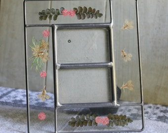 """Pressed Flowers Leaded Glass Frame - Photo Frame - Ferns - Home Decor - Collectibles - Dax - Holds Two 2"""" X 3"""" Photos - Vintage Wedding"""
