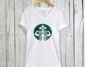 Starbucks Strong Vneck Tshirt. Relaxed Fit Women's Vneck Tshirt. Starbucks Shirt. Workout Shirt. Fitness Apparel.