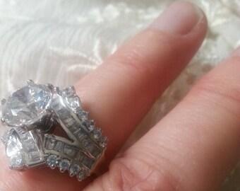 Vintage Engagement Ring, Vintage CZ Ring,1980's Wedding Engagement Lab Diamond Ring