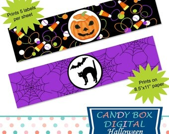 Ready-To-Print Halloween Water Bottle Labels or Napkin Wraps - Commercial Use OK