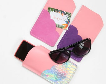 Leather glasses / phone case with scalloped pocket / in large size / light pink shades - choose your color-ready to ship