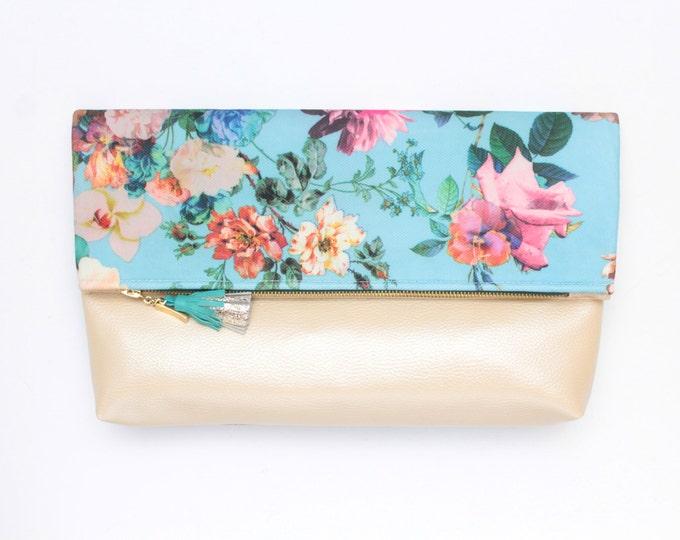 Large flower clutch bag. Fold over clutch. Leather handbag. Oversized purse. Floral print. Nude vegan leather. Blue handbag. /FALL HANDY 10