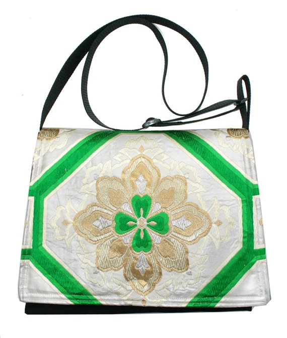SALE! Small satchel, vintage obi, Japanese obi, cross body, green and gold