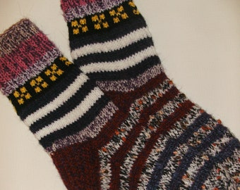 Hand Knitted Wool Socks -Colorful for Women - Size Medium, Large US W8,5-9 EU 39-40