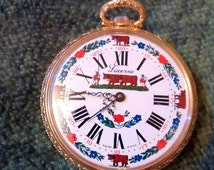 Lucerne Swiss Large Open Face Pasture Scene Gold Plate Pocket /Watch Pendant