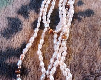 Fresh Water Rice Pearls Tiger Eye Gold Beaded Necklace     19 Inches Long When Worn