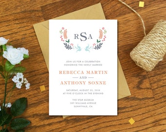 Wedding Reception Invitation Card - Floral Wedding Reception Invitation - Floral Monogram Invitation - Printable DIY