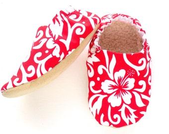 Hawaiian Baby Girl Shoes, Soft Sole Shoes, Baby Booties, Baby Girl Soft Shoes, Slip On Baby Shoes, Baby Girl Gift