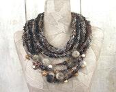 Black gray scarf infinity necklace , boho hand knit loop , Art Hand Knitted wrap , knit , felt , Bohemian clothing , Gypsy crochet shawl