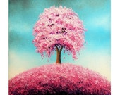 Contemporary Art Print, Pink Tree Art Print, Cherry Blossom Tree Wall Decor, Spring Home Decor, Giclee Print of Pink Tree Oil Painting