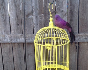 """Round Yellow Bird Cage w/Feathered Bird - 17"""" Table Top - Garden Patio Hanging Cottage Chic"""