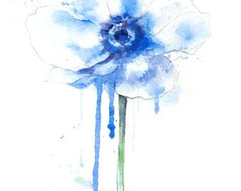 Fine art watercolor painting, flower art, blue poppy, WATERCOLOR PRINT, giclee print, flower interest