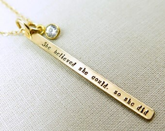 Inspirational Jewelry, She Believed She Could, So She Did Necklace, Gift For Daughter, Encouraging Quote, Gold Bar Necklace, Hand Stamped