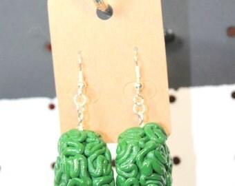 grass green brain earrings - polymer clay, brain earrings, drop earrings, green brains, brains, polymer clay earrings, green earrings