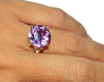 Alexandrite Ring With Big Stone, Sterling Silver Ring With Big Stone, Ring With Color Changing Stone