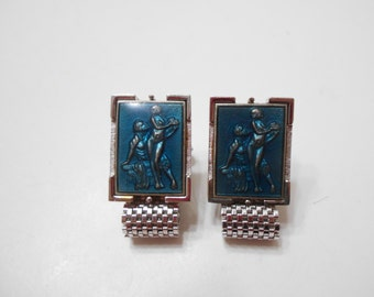 Vintage Grecian Couple Cuff Links (4196) Mesh Bands