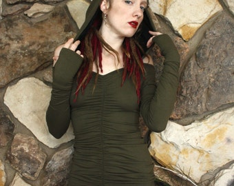 Ultimate Festy Hooded Dress in Dark Earth Green and Black Lace Liner, Long Sleeves, Halter, Scrunch Love, Natural Couture, Dance Ecstatic