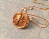 Antique Locket, Floral High Relief Locket, Pearl and Aquamarine Chain, Wedding Locket, Gift for Her