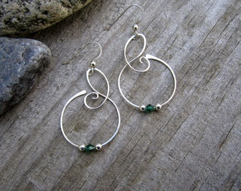 Medium Free Form Sterling Silver Earrings with Emerald Green Swarovski Crystals