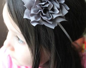 Grey Flower Headband. Infant Headband. Photo Prop. Girl Headband. Baby Headband. Toddler Headband. Hair clip. Back to School.