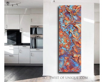 Rusted metal abstract / Oversized abstract painting/ Blue and Red abstract /ORIGINAL abstract painting/ 72x22 / Red rust, orange rust, blue