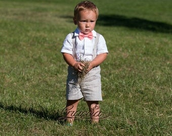 Ring bearer outfit Baby boy shorts with suspenders First birthday linen suit Baby baptism clothes Boy wedding formal wear Coral light Gray