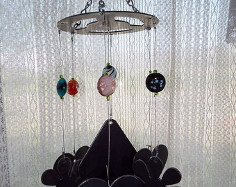 Hearts and Flowers Wind Chime - Handmade, Home Decor, Outdoor,Musical, Yard, Garden, Decor, Gift, Patio, Steel, Glass Beads