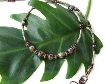 Glass bead necklace - lichen blue green brown & copper
