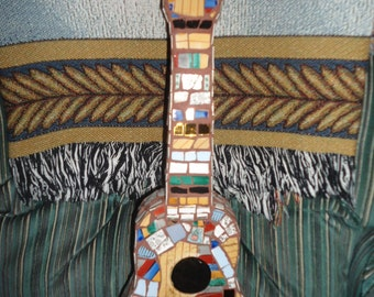 MOSAIC ART / Ukulele / Guitar / Piece Made Using Fine Porcelain & Gold Inlaid China / Direct From Artist / FREE Shipping