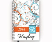 Academic or Family Calendar Personalized Planner with Orange and Aqua Blue Paisley Swirl Cover