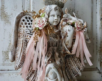 Angel sculpture w/ birds handmade clay terracotta angelic figure w/ birdcage crown embellished in flowers w/ ribbon decor anita spero design