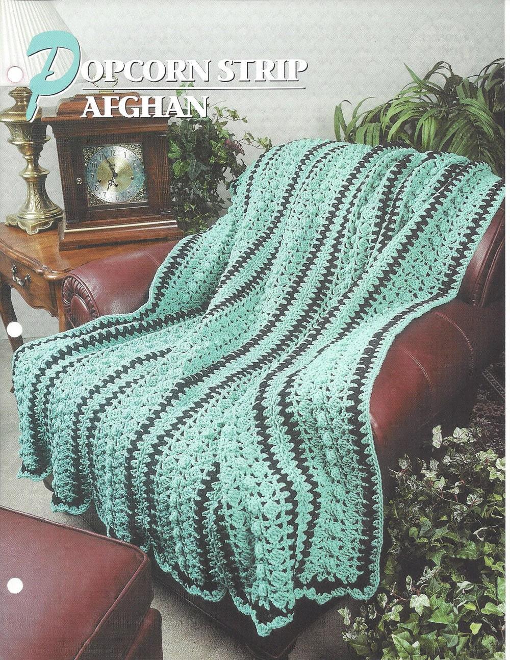 Crochet Pattern Popcorn Strip Afghan Blanket Annies