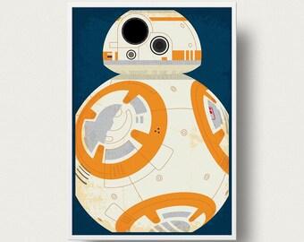 Star wars Poster BB8 robot Movie poster art Print Star Wars droid movie poster Star Wars The Force awakens movie star wars art movie poster