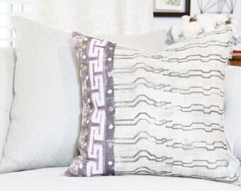 Zak & Fox Khaden Pillow in Khaden - Greek Key Linen - Geometric Throw Pillow Cover - Modern Beige Pillow - Neutral Pillow - Motif Pillows
