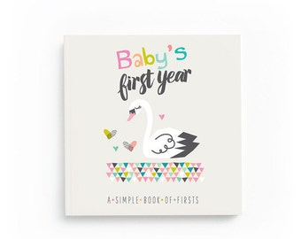 Baby Book for Girls - Baby's First Year - Baby Memory Book - Baby Journal - Swan Baby Book - Baby's First Memory Book - Baby Shower Gift