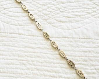 Vintage Urban Silver Scratch Panel and Link Style Bracelet, Olives and Doves
