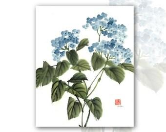 "8 x 10 Watercolor Chinese Brush Painting Print:""Blue Hydrangea"""